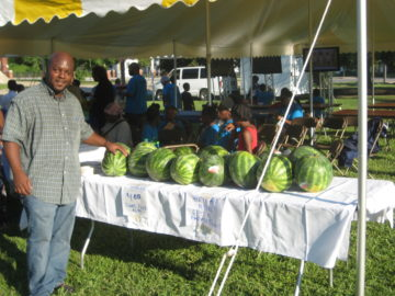 'BBC Block Party, Summer 2011: Don Gaddis (Central Community Food Co-op) displays some fresh watermelons!