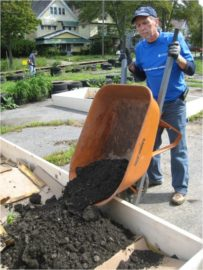 Case for Community Day, 2011: Mark Chupp (MSASS) fills a raised bed.