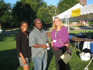 BBC Block Party, Summer 2011: Tanisha, Don Gaddis (Central Comm. Co-op), and Brittany Barski (CMHA) smile for a picture.